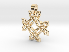 Crossing celtic knot [pendant] in 14k Gold Plated Brass