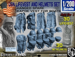 1/200 USN Hanged Lifevest and Helmets Set101 in Smoothest Fine Detail Plastic