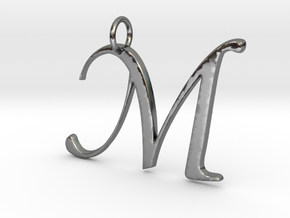Elegant M in Fine Detail Polished Silver