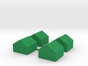 Monopoly Cottages x4 in Green Processed Versatile Plastic