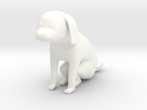 Sitting dog 2 in White Processed Versatile Plastic