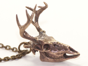 Buck Skull With Pendant Loop in Raw Bronze