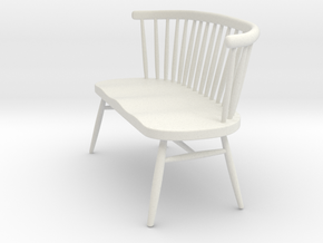 Miniature Ercol Love Seat - Ercol in White Natural Versatile Plastic: 1:12
