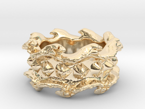 Ocean Wave Ring in 14k Gold Plated Brass: 10.5 / 62.75