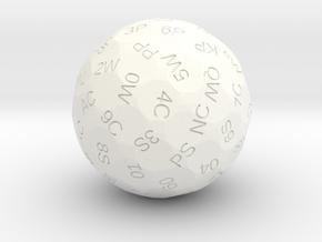 d78 Tarot Die in White Processed Versatile Plastic