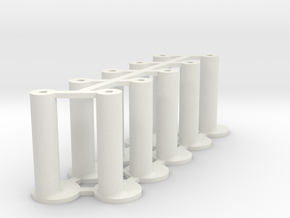 Slot Car universal body mounting posts OFFSET in White Natural Versatile Plastic
