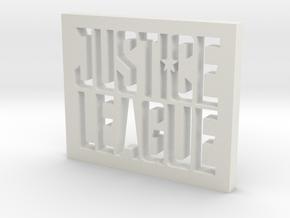 Justice League Logo in White Natural Versatile Plastic