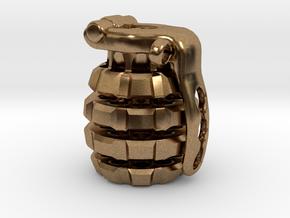 Toxic Bomb - tritium grenade bead in Natural Brass
