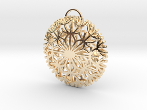 Dandelion seeds pendant(32mm) in 14k Gold Plated Brass