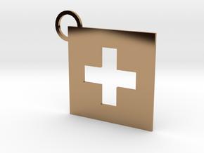 Switzerland Flag Keychain in Polished Brass