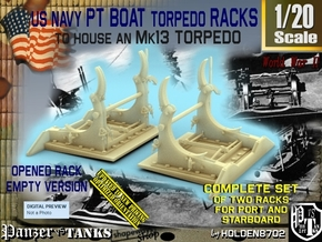 1/20 PT Torpedo Rack TypB Empty in Smooth Fine Detail Plastic
