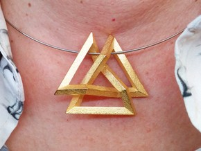 Trefoil Knot inside Equilateral Triangle (Medium) in Polished Gold Steel