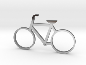 Bicycle Keychain in Fine Detail Polished Silver