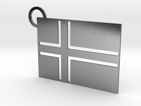 Icelandic Flag Keychain in Polished Silver