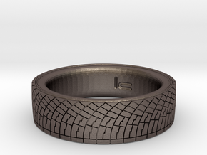 Rally Tire Ring 11.5 in Polished Bronzed Silver Steel