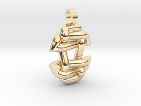 Asiatic style knot [pendant] in 14K Yellow Gold