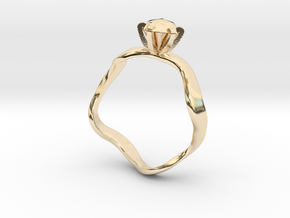 waved engagement ring in 14K Yellow Gold: 6 / 51.5