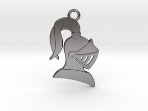 Knight Helmet Pendant/Keychain in Polished Nickel Steel