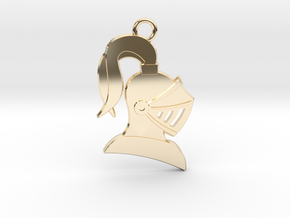 Knight Helmet Pendant/Keychain in 14k Gold Plated Brass