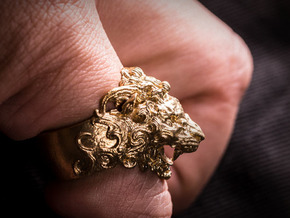 Roaring Lion King of Jungle Ring  in Natural Brass: 9 / 59