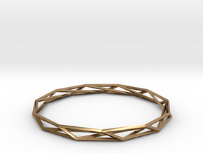 Nonagon-Hendecagon Wireframe Geometoric Ring in Natural Brass