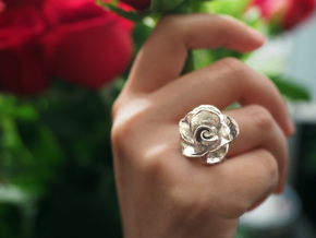 Blossoming Rose Ring in Polished Silver: 3.5 / 45.25