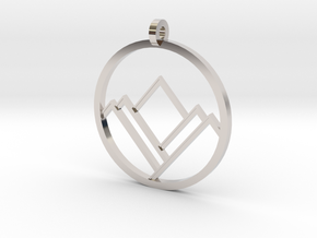 A Mountain in A Circle in Rhodium Plated Brass