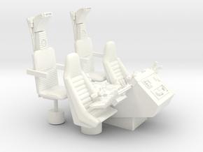 1/12 COCKPIT CONSOLE SEATS in White Processed Versatile Plastic