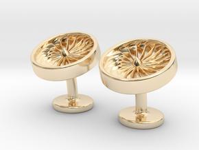 Jet Engine Cufflinks in 14k Gold Plated Brass
