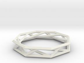 Octagon Wireframe Geometric Ring in White Natural Versatile Plastic