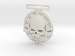Small Tournament Medal : Blank Halo Skull  in White Premium Versatile Plastic