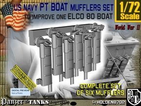 1/72 Elco PT Boat Mufflers Set001 in Smoothest Fine Detail Plastic
