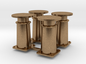 4X Buffer oersik spoor 0 in Natural Brass