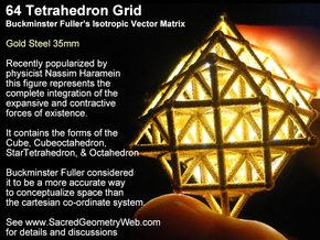 Sacred Geometry: 64 Grid Tetrahedron 35x1mm in Matte Gold Steel
