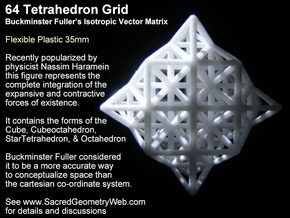 Sacred Geometry: 64 Grid Tetrahedron 35x1mm in White Natural Versatile Plastic