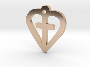 Heart shaped cross pendant in 14k Rose Gold Plated Brass: 15mm