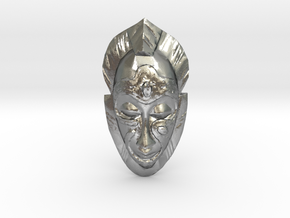 African Mask - Room Decoration in Natural Silver: Small