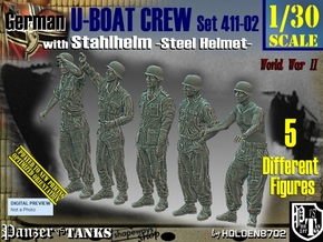 1/30 German U-Boot Crew Set411-02 in White Natural Versatile Plastic