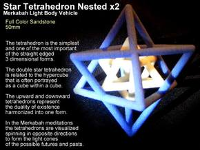 2 Star Tetrahedrons Merkabah 50mm in Full Color Sandstone