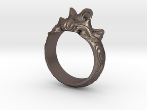 Sweeping waves ring abstract in Polished Bronzed Silver Steel: 9 / 59
