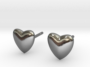 earpins heart in Polished Silver
