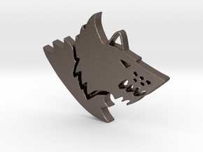Space Wolf Pendant in Polished Bronzed Silver Steel