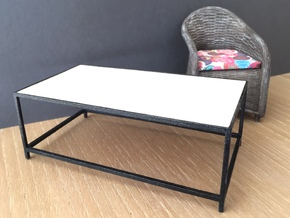 1:12 Table Lounge / Coffee rectangular  in White Strong & Flexible Polished
