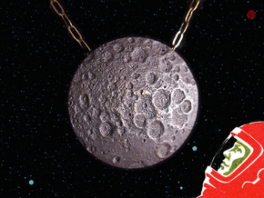 Far Side of the Moon Pendant  in Polished and Bronzed Black Steel