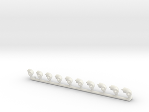 """ø2.4mm 3/32"""" Pipe Fittings 90° 10pc in White Natural Versatile Plastic"""