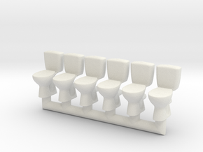 Toilet 02.HO scale (1:87) in White Natural Versatile Plastic