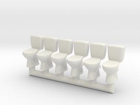 Toilet 02.HO scale (1:87) in White Natural Versatile Plastic