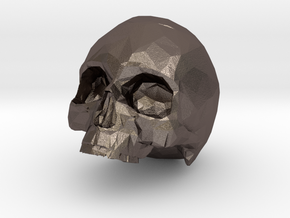 HUMAN SKULL in Polished Bronzed Silver Steel: Small