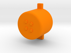 Four star button in Orange Processed Versatile Plastic