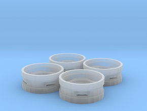 Dual Tractor Rims Set of 4 in Smooth Fine Detail Plastic
